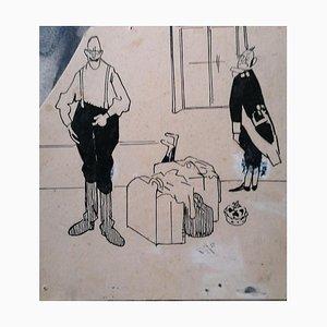 Unknown, Satirical Scene, Original China Ink on Cardboard, Early 20th Century