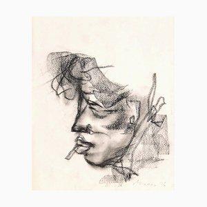 Mino Maccari, Portrait, Dessin Original Fusain, 1920s