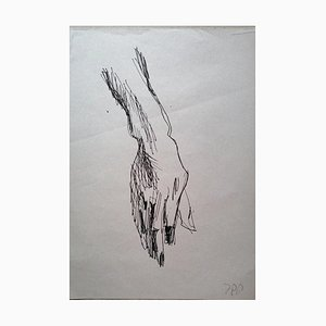 Unknown, Study of a Hand, Original Drawing on Tissue Paper, Mid-20th Century