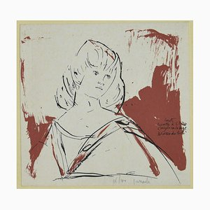 Arnoldo Ciarrocchi, Portrait, Original China Ink on Lithograph, 20th Century