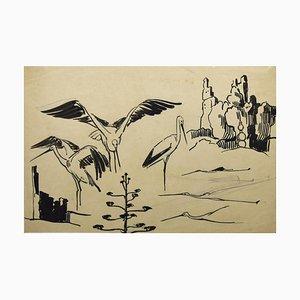 Helen Vogt, Störche, Originaltinte und Aquarell, 1930