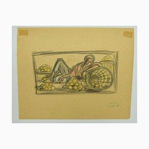 Helen Vogt, Marokko, Original Pastell und Bleistift, 1930
