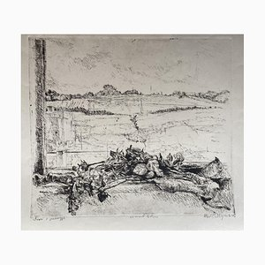 Marco Bellagamba, Dry Flowers in the Landscape, Original Etching, 1968