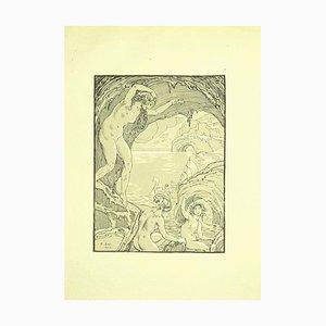 Ferdinand Bac, Nymphen in der Höhle, Originale Lithographie, 1922