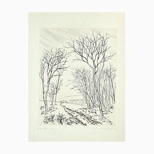 Roland Brudieux, Winter, Original Etching, Mid 20th Century