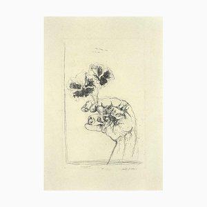 Walter Piacesi, les deux violettes, gravure originale, 1974