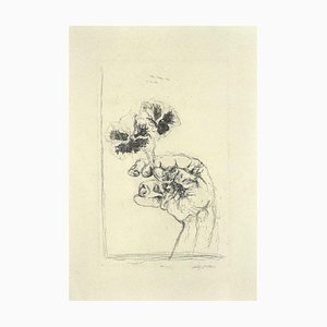 Walter Piacesi, the Two Violets, Original Etching, 1974