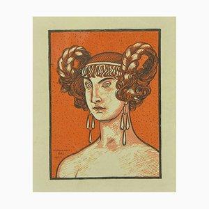 Ferdinand Bac, orangene Göttin, Original Lithographie, 1923