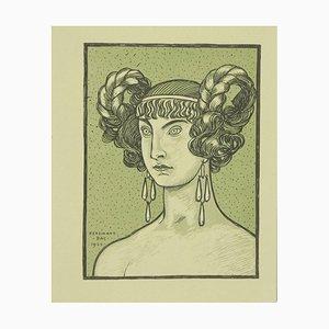 Ferdinand Bac, die grüne griechische Göttin, Originallithographie, 1923