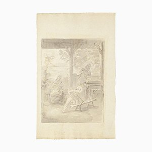 Unknown, the Holy Family, Original Ink and Watercolor on Paper, Early 19th Century