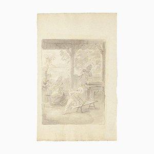 Unknown, The Holy Family, Original Tinte und Aquarell auf Papier, Frühes 19. Jahrhundert