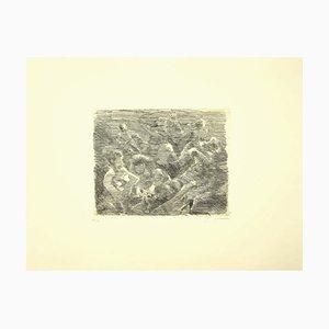 Mino Maccari, Figure, Original Etching on Paper, 1950