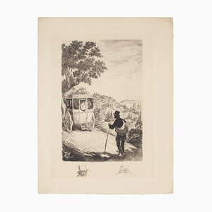 Unbekannt, der Wanderer, Original Radierung, 19. Jahrhundert