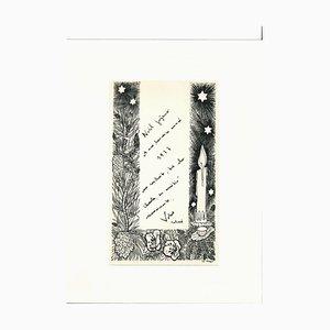 Erhard Klepper, carte de voeux de Noël, encre originale, XXe siècle
