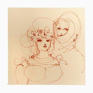 Leonor Fini, zwei Frauen, Originallithographie