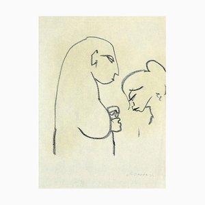 Mino Maccari, Two Figures in Profile, Original Black Pen on Paper, 1950
