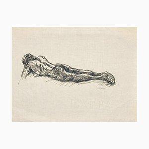 Mino Maccari, Reclining Nude, Original Ink on Tissue Paper, 1950