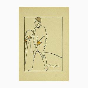James Pryde, Retrato de W.P. Nicholson, litografía original, 1897
