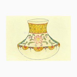 Gabriel Fourmaintraux, Decorated Vase, Original Mixed Media on Paper, Early 1900