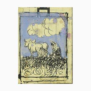 Unbekannt, Wagen mit Ochsen, Originalstift und Aquarell auf Papier, frühes 20. Jahrhundert