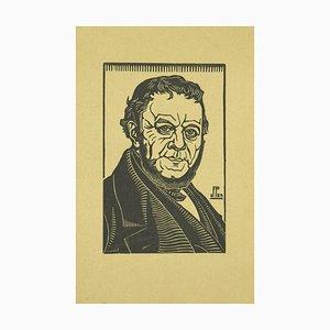 Desconocido, Retrato de hombre elegante, Xilografía original, Principios del siglo XX