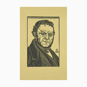 Unbekannt, Porträt eines eleganten Mannes, Original Holzschnitt, frühes 20. Jahrhundert