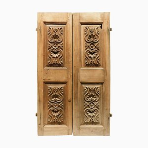 Antique Small Double Doors in Walnut with Carved Panels, 18th Century, Italy