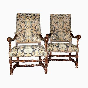 Antique Armchairs in Walnut with Original Fabric, Louis XIV Style, 1600, Italy, Set of 2