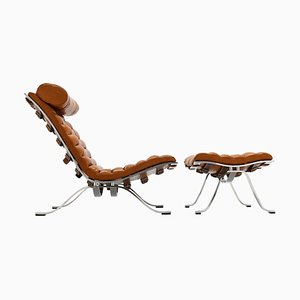 Ari Lounge Chair and Ottoman in Cognac Leather by Arne Norell, Set of 2