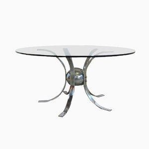 Mesa vintage de metal cromado y vidrio ahumado