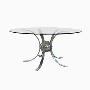 Tavolo vintage in metallo cromato e vetro fumé, anni '60