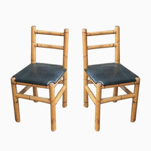 Bamboo Side Chairs, 1950s, Set of 2