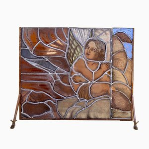 Mid-Century Handmade Glass Painted & Iron Fire Screen
