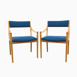 Skandinavische Blaue Armlehnstühle, 1960er, 2er Set