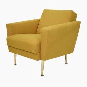 Mid-Century German Yellow and Brass Lounge Chair in the style of Pierre Guariche
