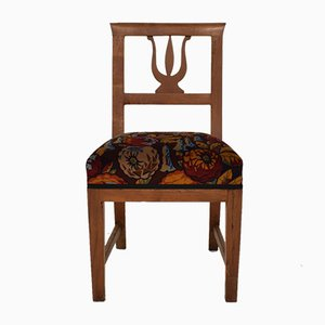 19th Century Brown Walnut Italian Upholstered Biedermeier Side Chair, 1820s