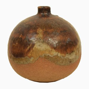 Skandinavische Mid-Century Amphora Keramikvase in Braun und Orange, 1970er