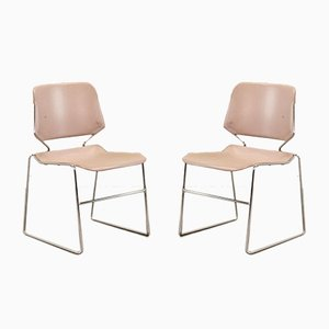 Minimalist Mute Pink Dining Chairs by Thomas Tolleson for Matrix Krueger, 1970s, Set of 2
