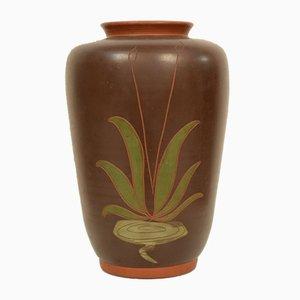 Deutsche Jugendstil Keramik Vase mit Kranich und Schilfrohr, 1910