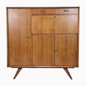 MId-Century Teak High Sideboard with Drawers and Bar, 1950s