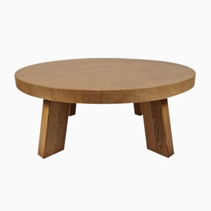 Rustic Robust Solid Oak Round Coffee Table with Mosaic Tabletop, 1970s