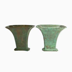 Vintage Art Deco Bronze Vases by Sune Bäckström for Sune Bäckström Malmö, Set of 2