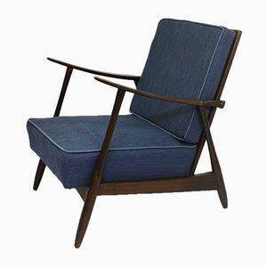 Scandinavian Lounge Chair with Dark Blue Fabric, 1960s