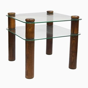 Glass and Oak Side Table with Shelf, 1980s