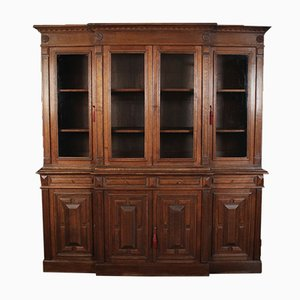 Large French Oak Breakfront Bookcase