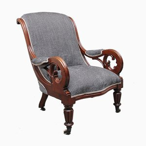 19th-Century Mahogany Library Armchair