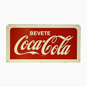 Italian Double-Sided Metal Screen Printed Bevete Coca-Cola Sign, 1960s
