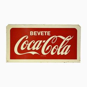 Italienisches Doppelseitiges Bevete Coca-Cola Schild aus Metall, 1960er