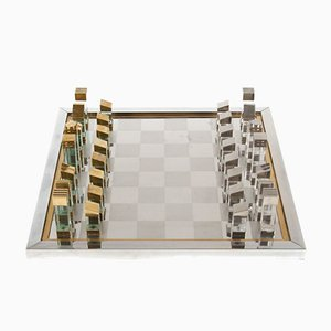 Modernist Chess Set in Lucite, Brass & Chrome by Romeo Rega, Italy, 1970s