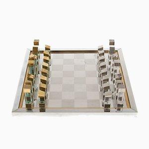 Set d'échecs Moderniste en Lucite, Laiton et Chrome par Romeo Rega, Italie, 1970s